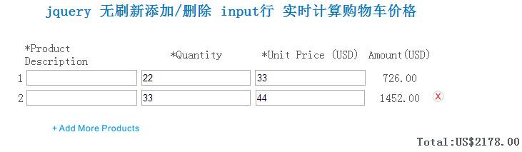 jquery 无刷新添加/删除 input行 实时计算购物车价格